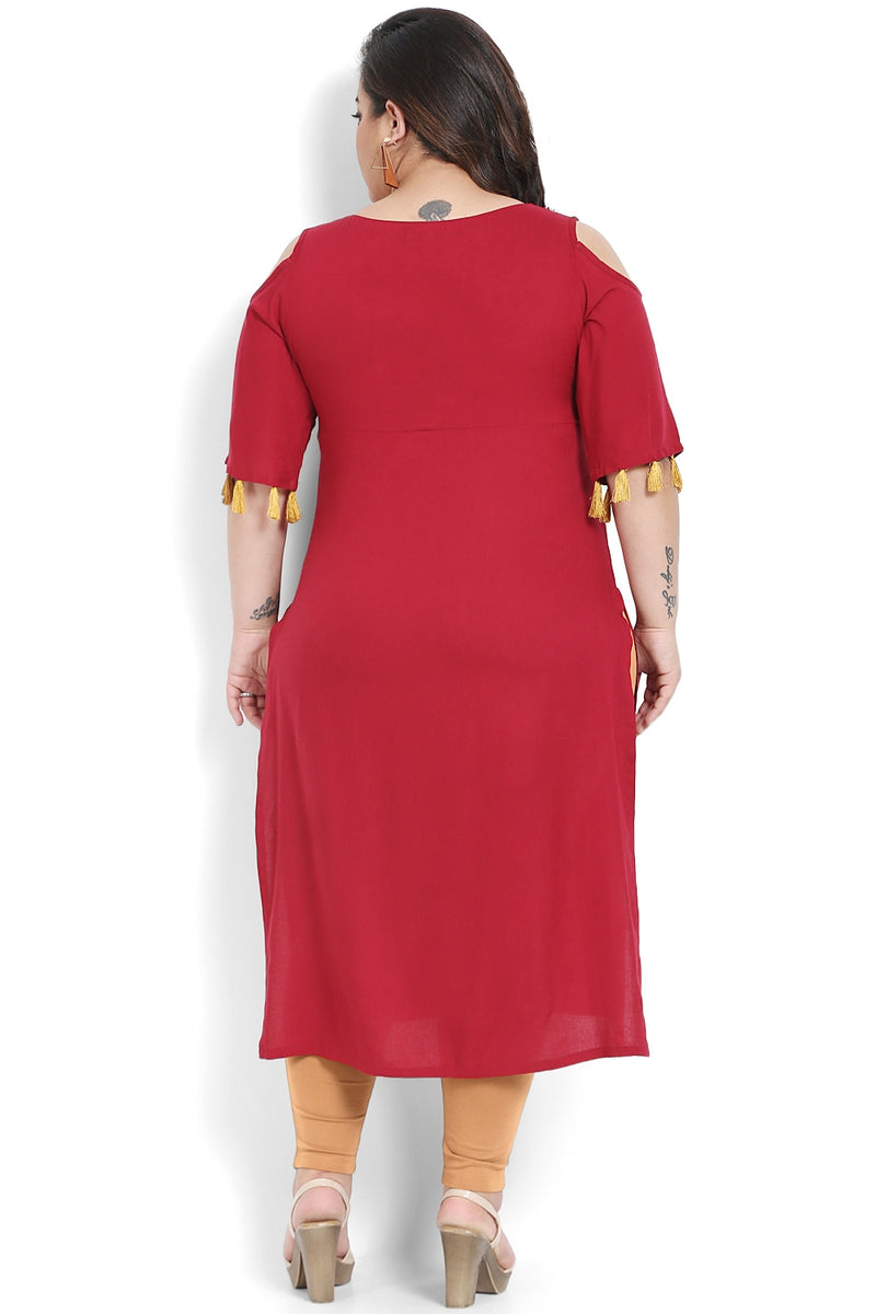 Chilly Red Embroidered Off Shoulder Kurti