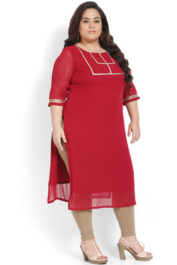 Chilly Red Golden Rectangle Design Kurti