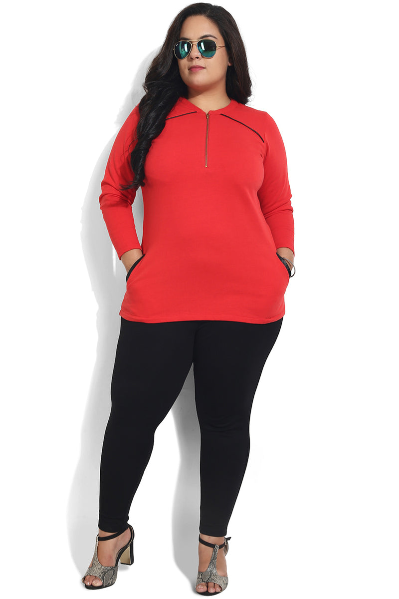 Red Sweatshirt with Black Detailing