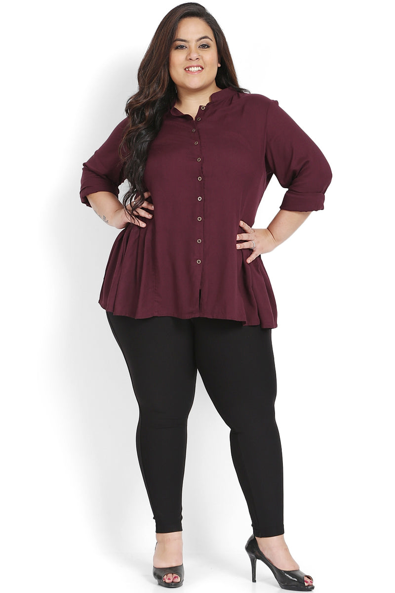 Plum Button Down Peplum Shirt