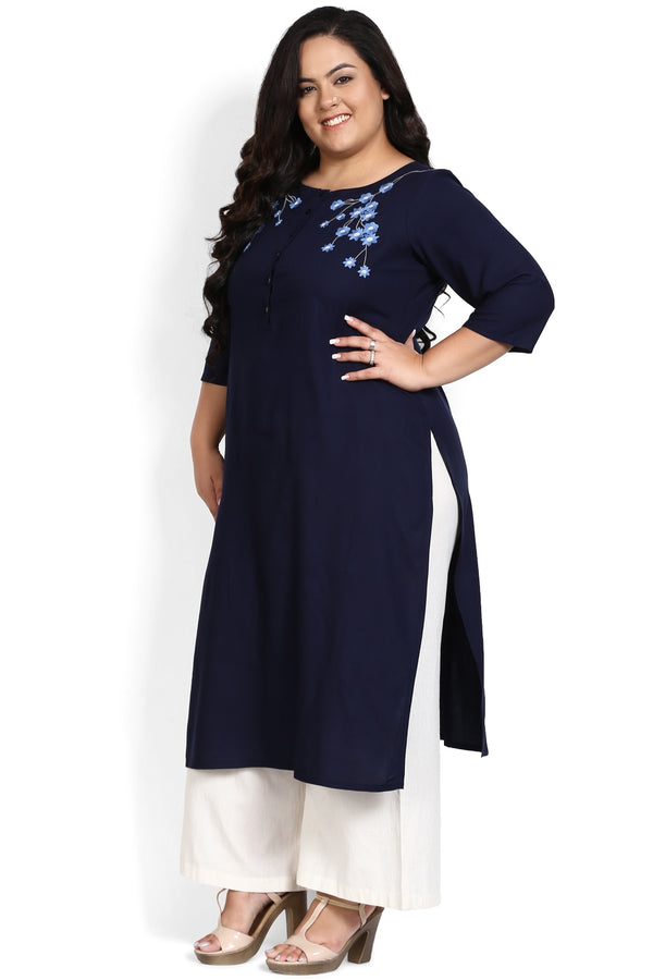 Navy Floral Embroidery Placket Closure Kurti