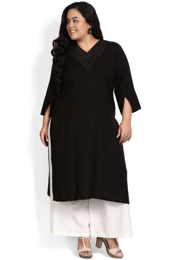 Black Lace Detail Cutout Sleeve Kurti