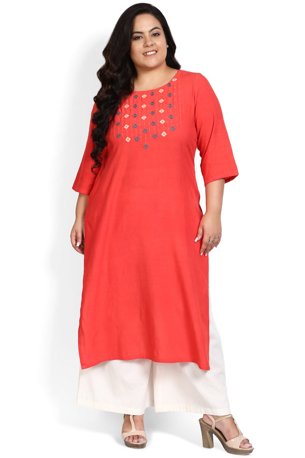 Coral Floral Neckline Embroidery Kurti