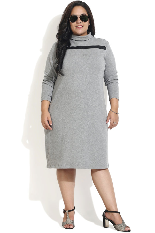Grey Leather Patch Autumn Dress