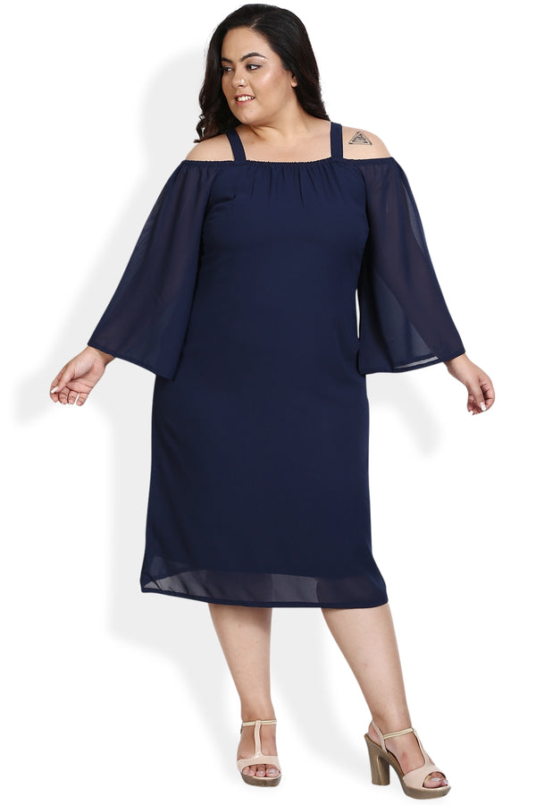 Navy Off Shoulder Bell Sleeves Dress