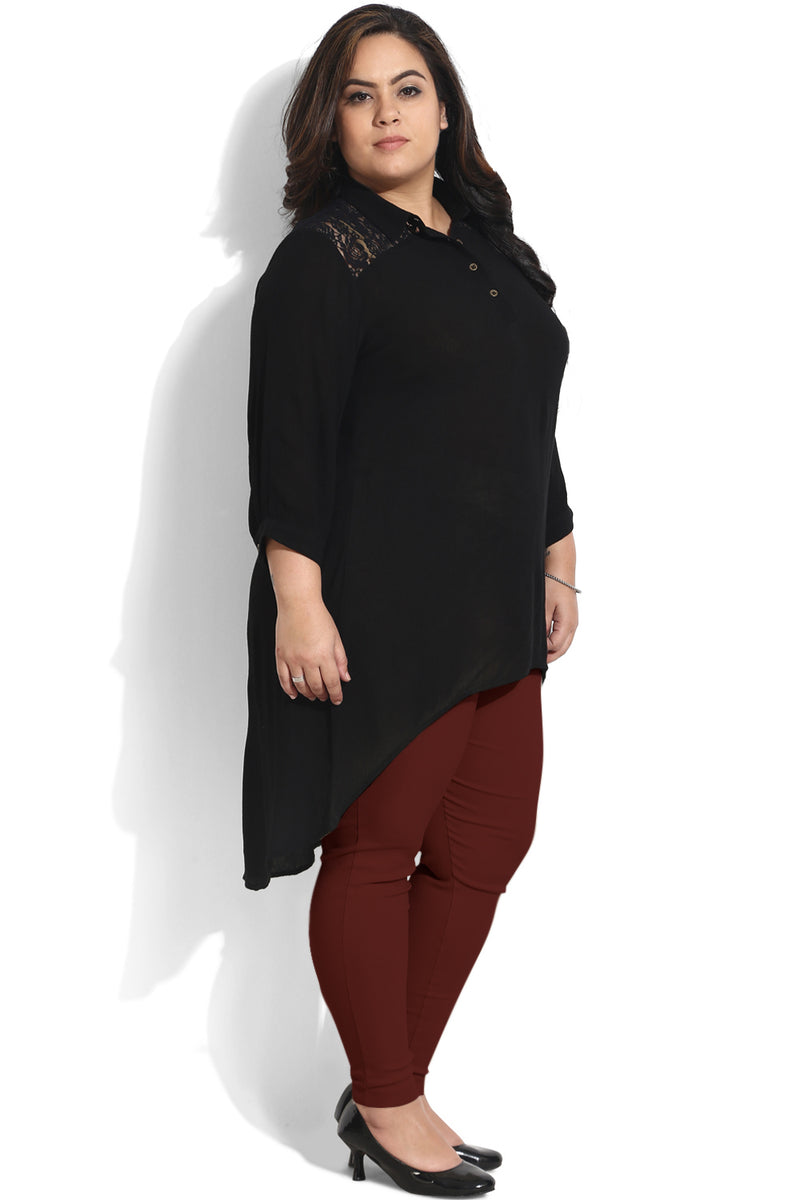 Black Lace Yoke High Low Tunic