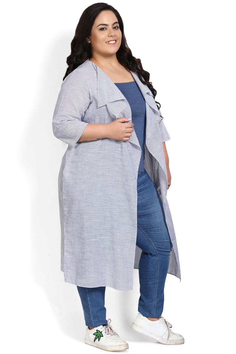 Blue White Stripe Waterfall Collar Duster
