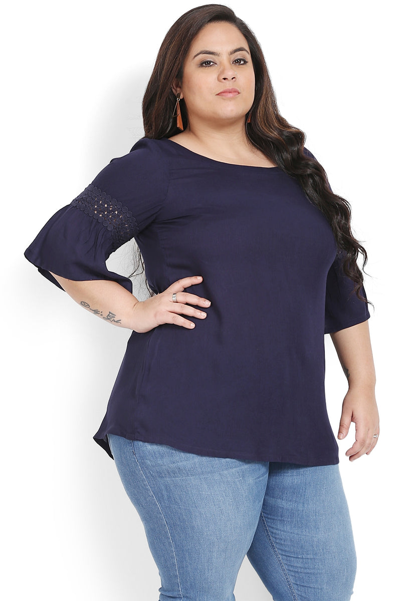 Navy Blue Frill Sleeves Top