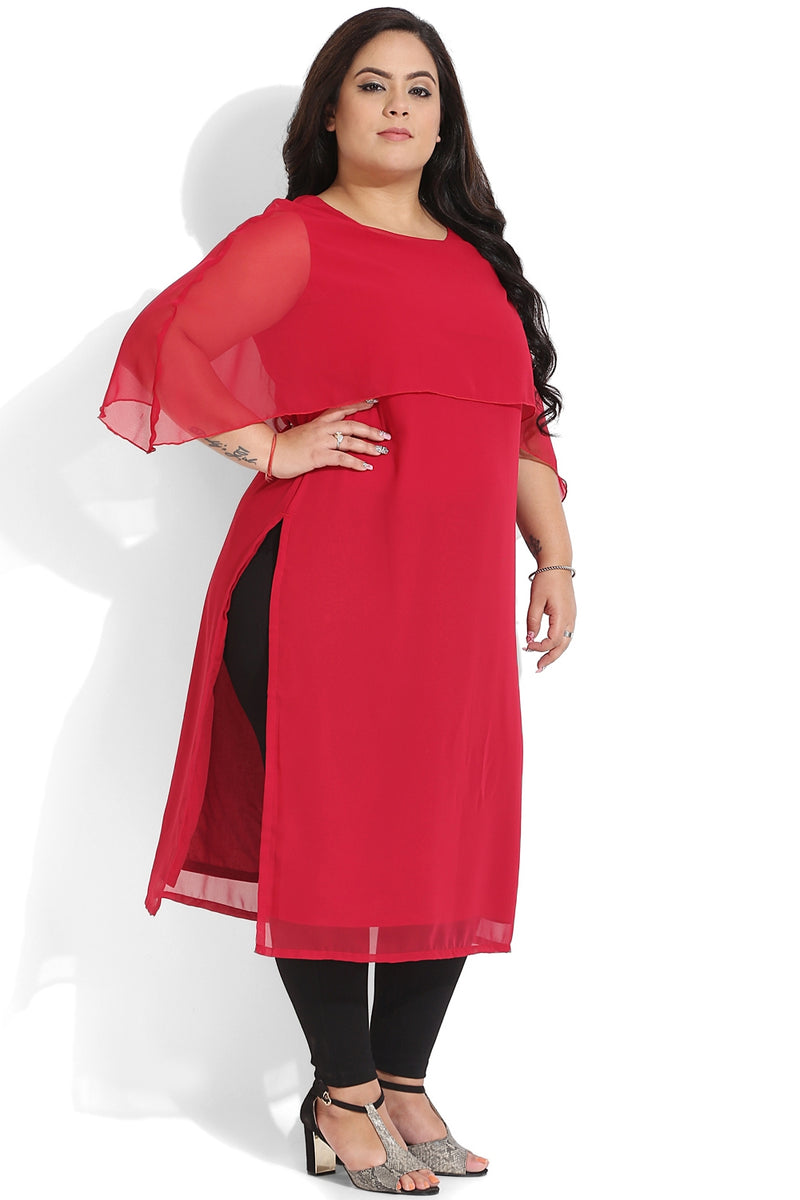 Berry Red Cape Detail Georgette Kurti
