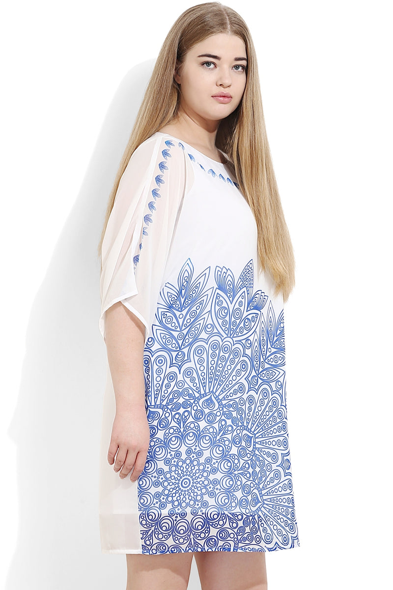 Indigo Inspired Digital Print Dress - cum- Tunic