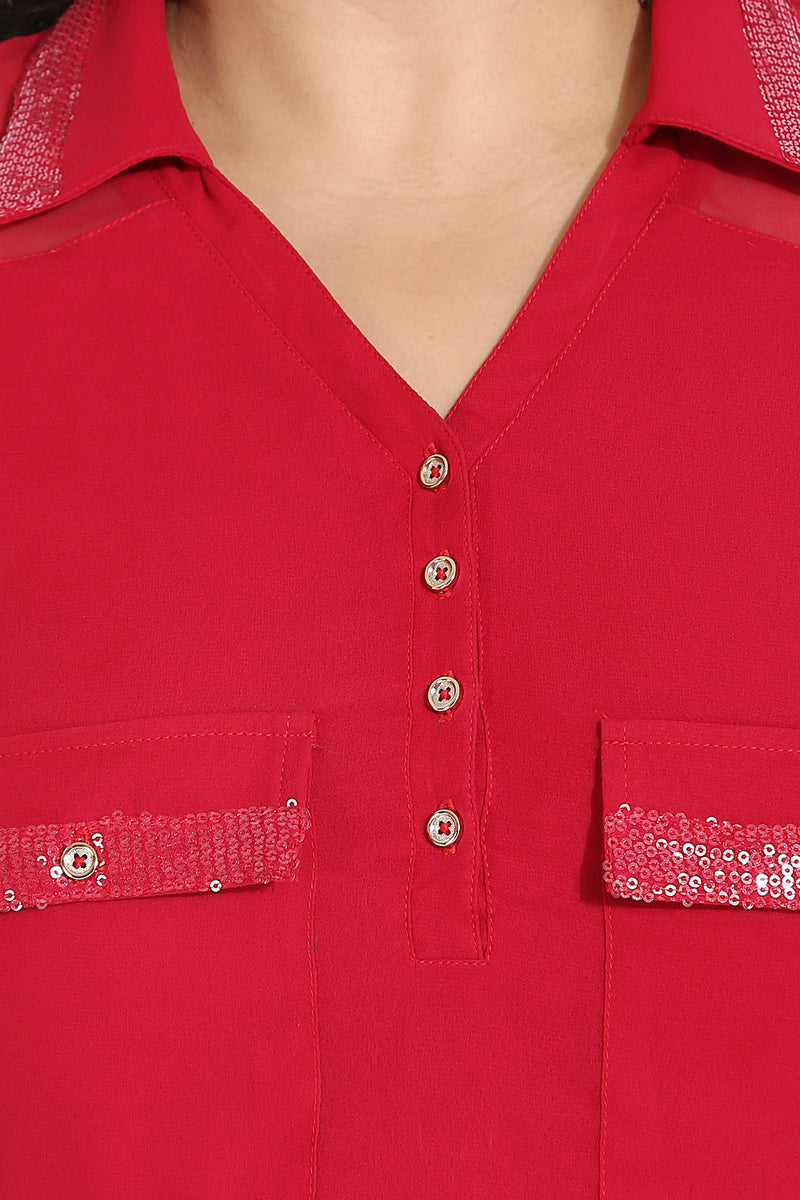 Red Sequin Detail Shirt Tunic