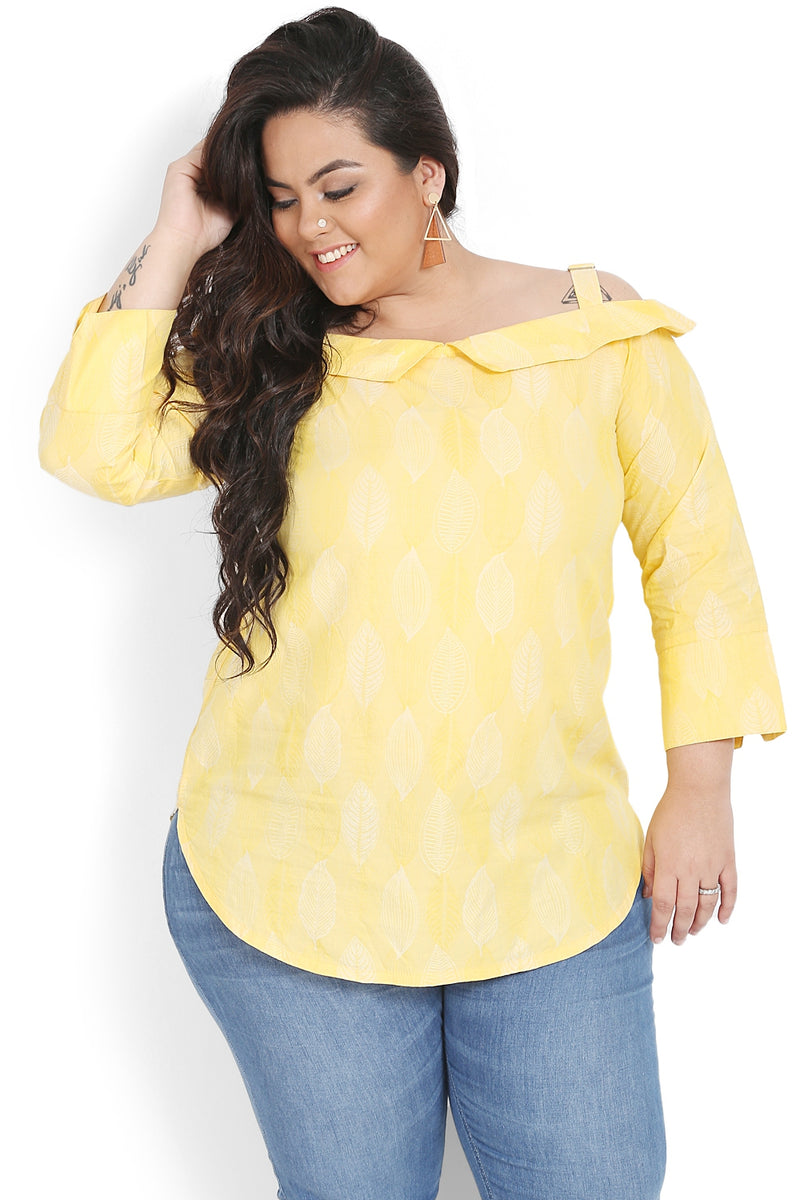 Yellow Printed Collared Off-Shoulder Top