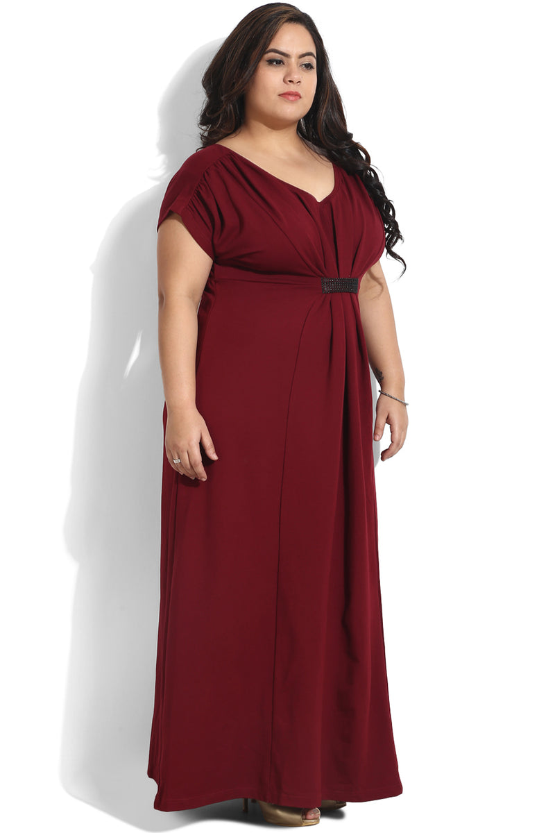 Maroon Gather Detailing Full Length Dress