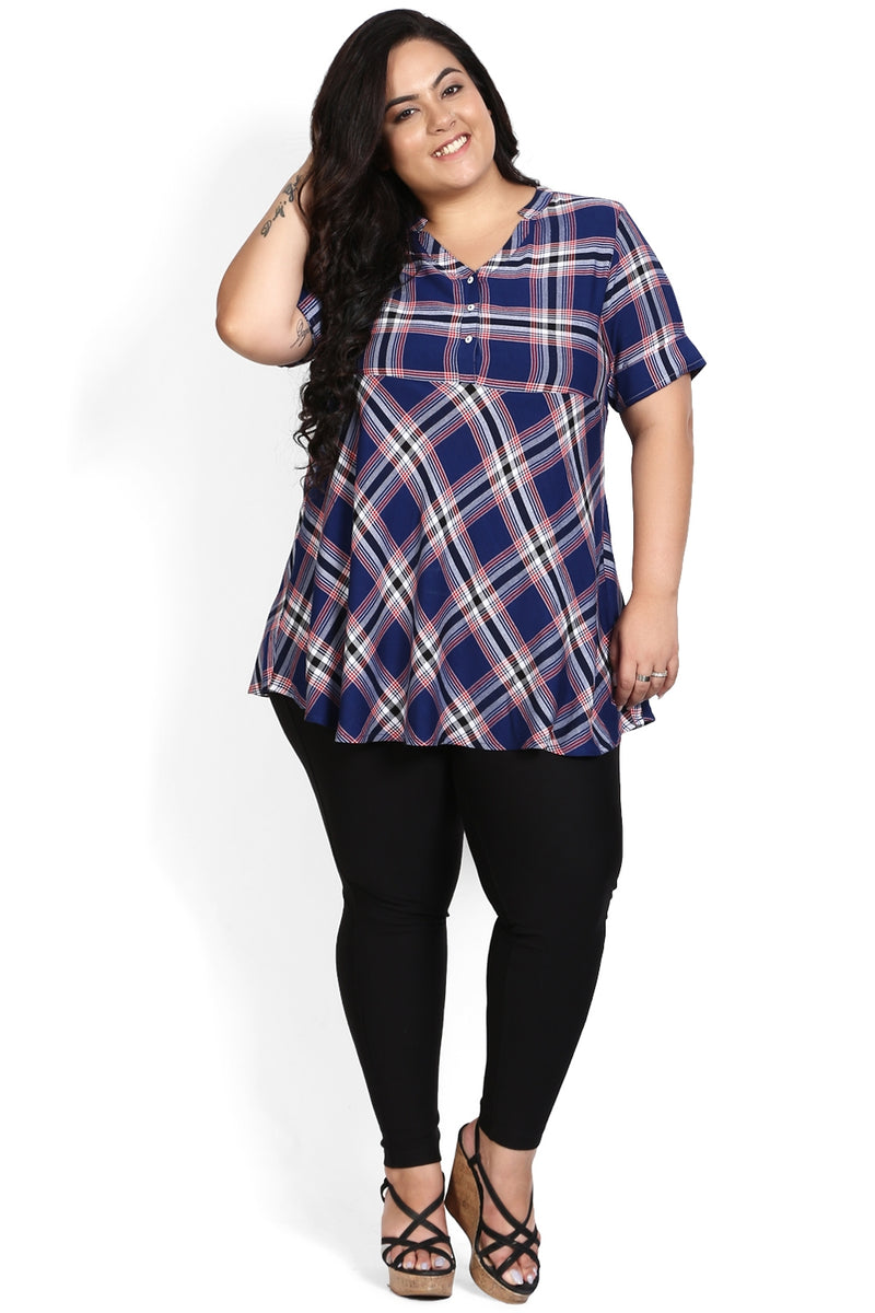 Navy Blue Chequered Peplum Top