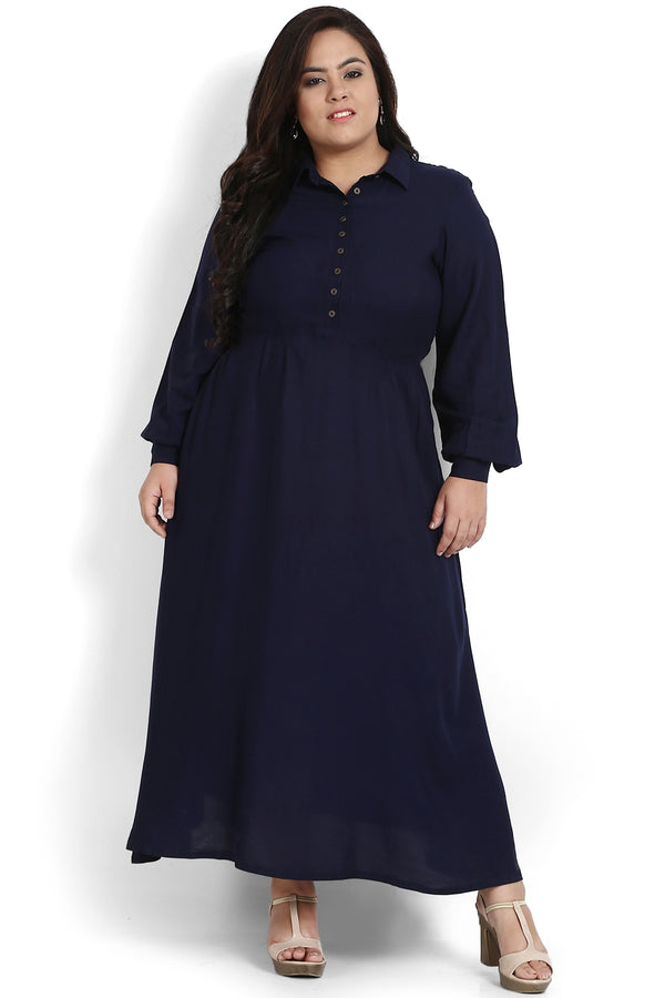 Navy Blue Button Balloon Sleeve Maxi Dress