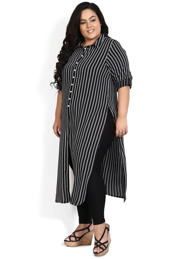 Black White Stripe Three Slit Kurti