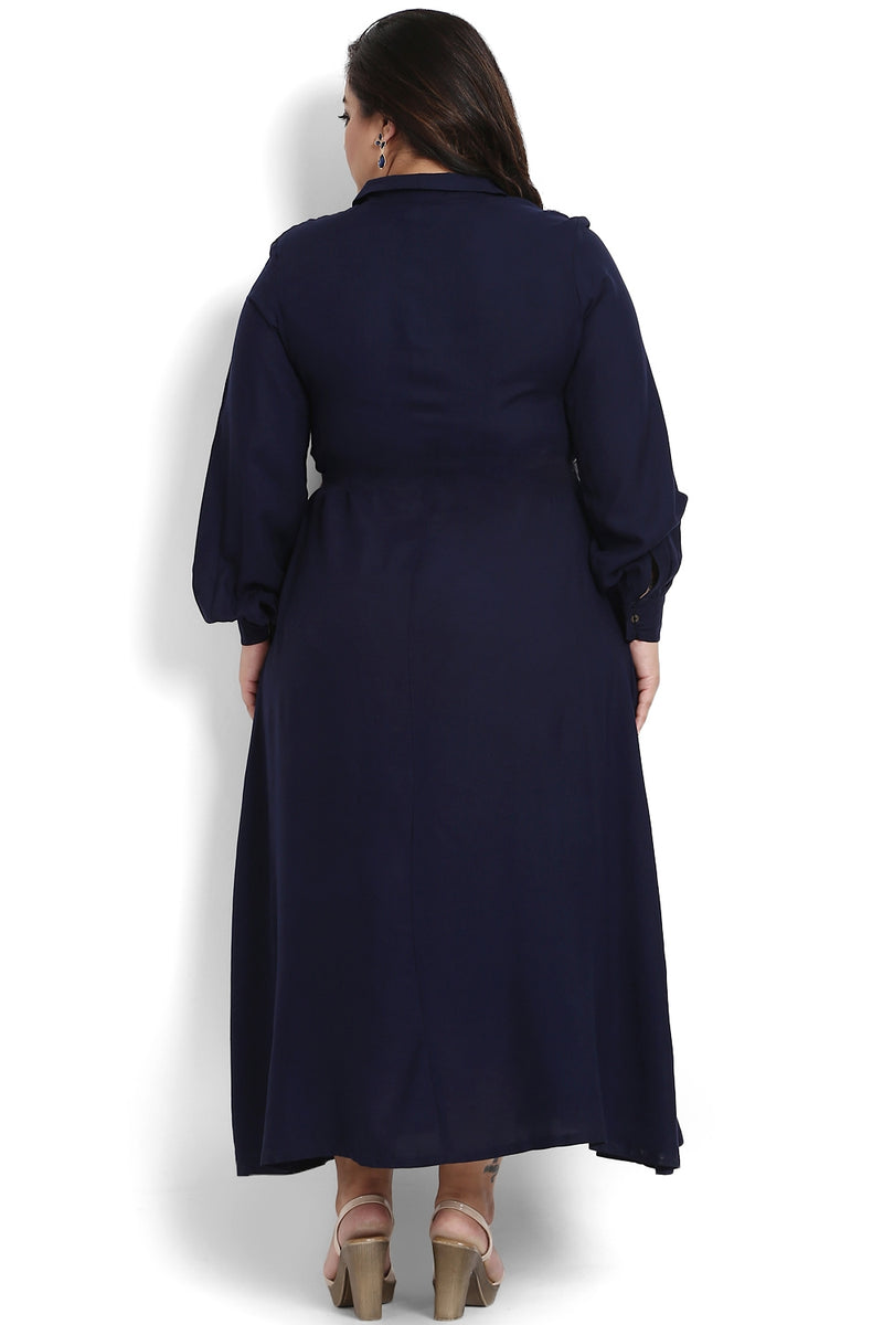 Navy Button Detail Balloon Sleeve Maxi Dress