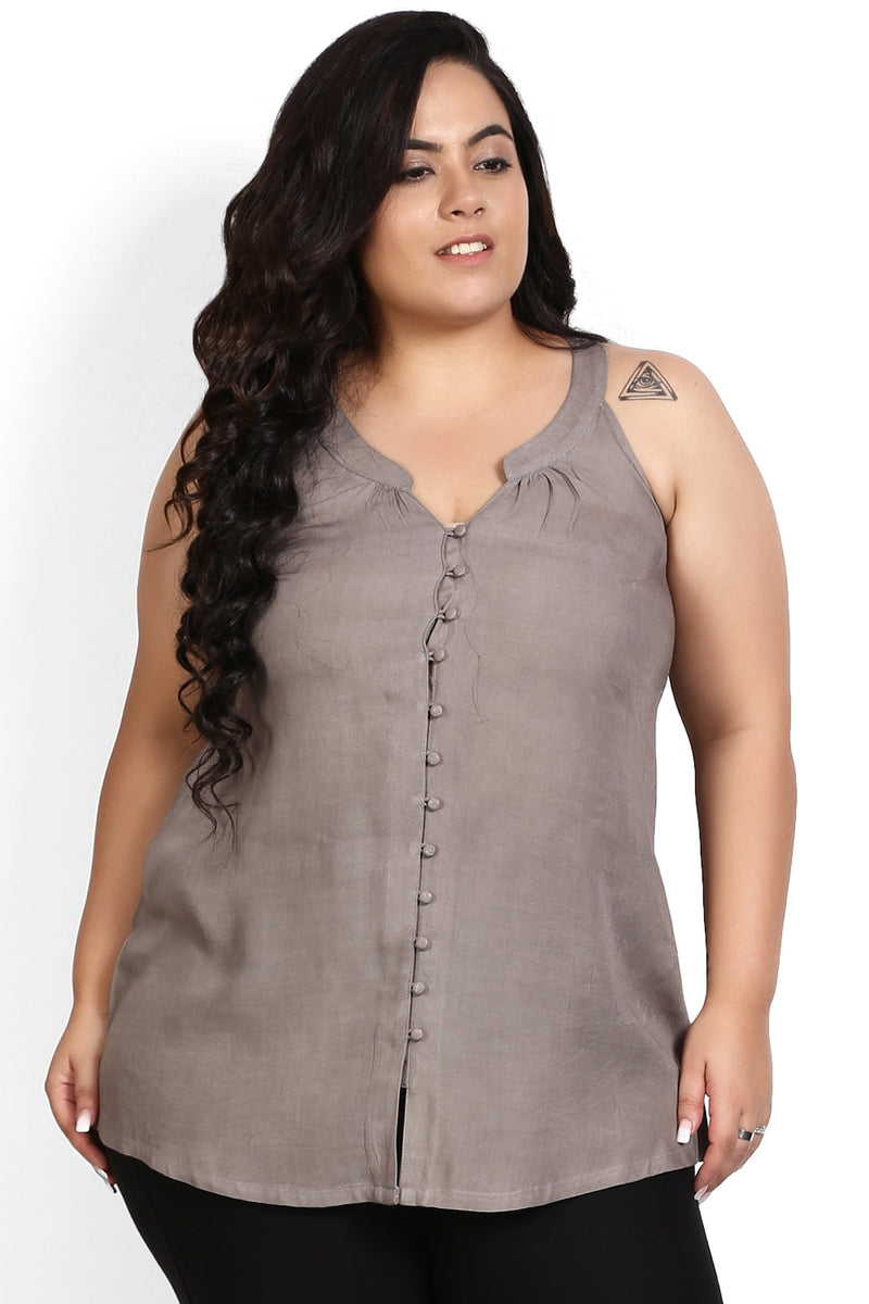 Grey Button Detail Halter Neck Top