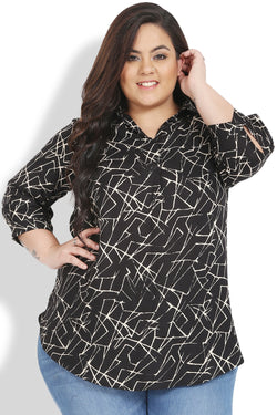 Black Abstract Print Centre Pleat Collar Top
