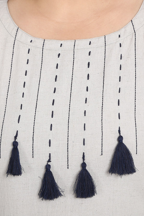 Grey Blue Tassel Kurta