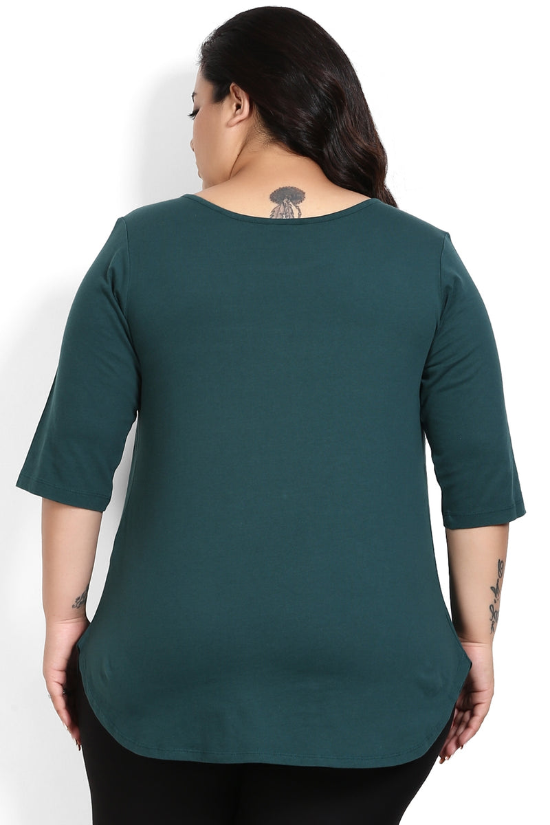 Emerald Green Lace Fit & Flare Top