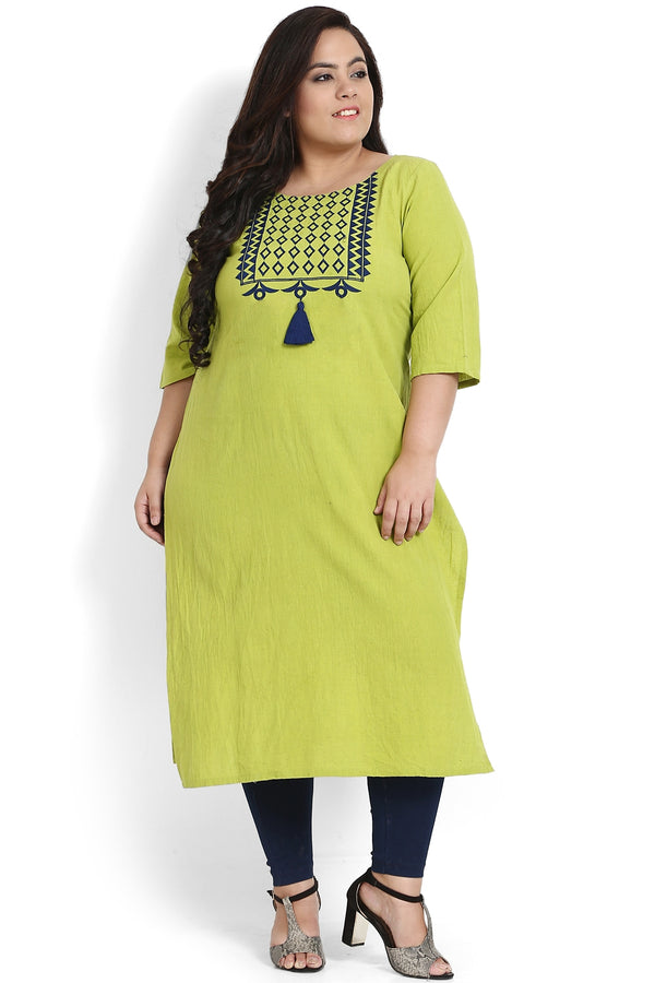 Green Geometric Embroidery & Tassel Kurti