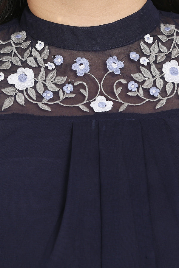 Navy Mandarin Collar Embroidery & Flare Top