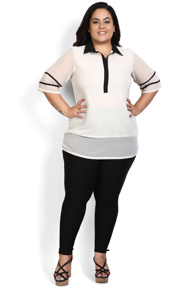 Cream Black Shirt Style Georgette Top