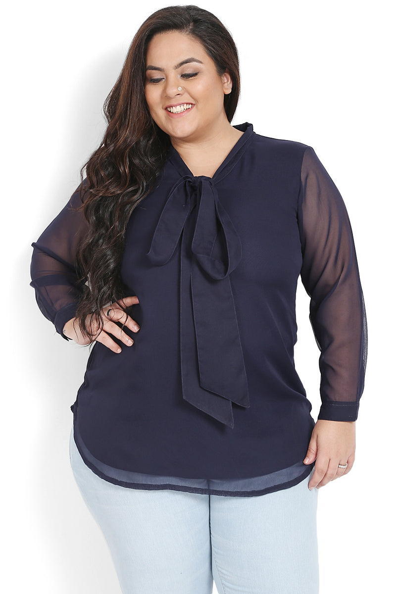 Navy Neck Tie Georgette Blouse