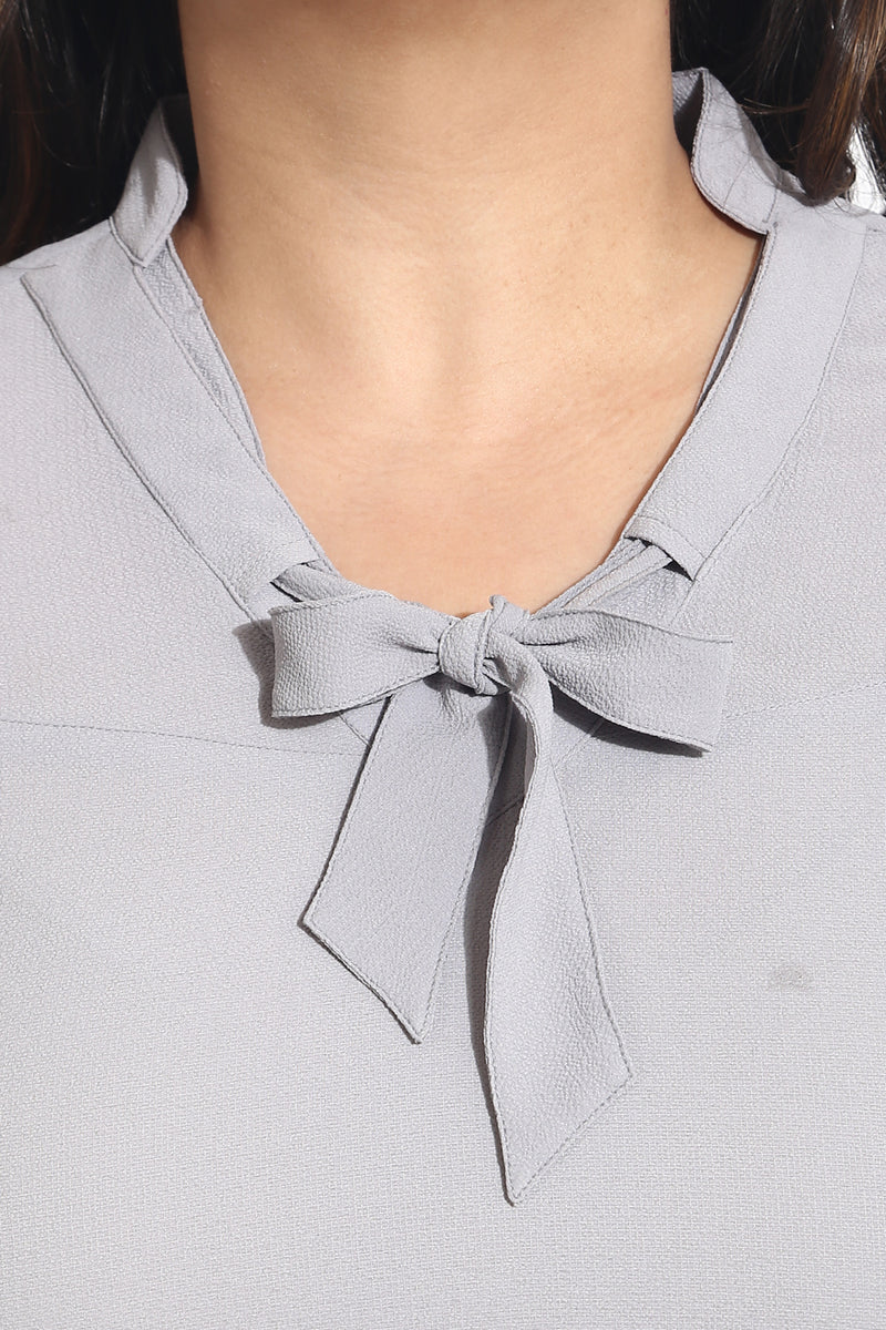 Grey Bow Neck Top