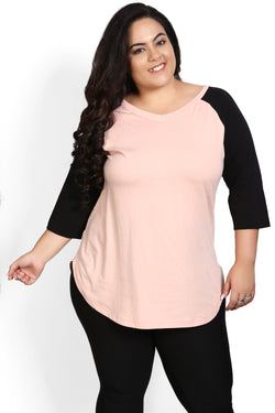 Rose Raglan Sleeve Rounded Hemline Top