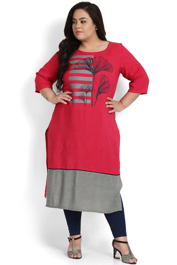 Ruby Pink Grey Bottom Panel Printed Kurti