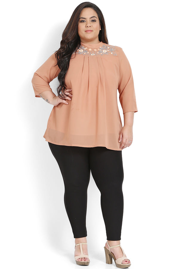 Peach Mandarin Collar Embroidery & Flare Top