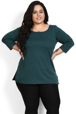 Emerald Green Henley T Shirt