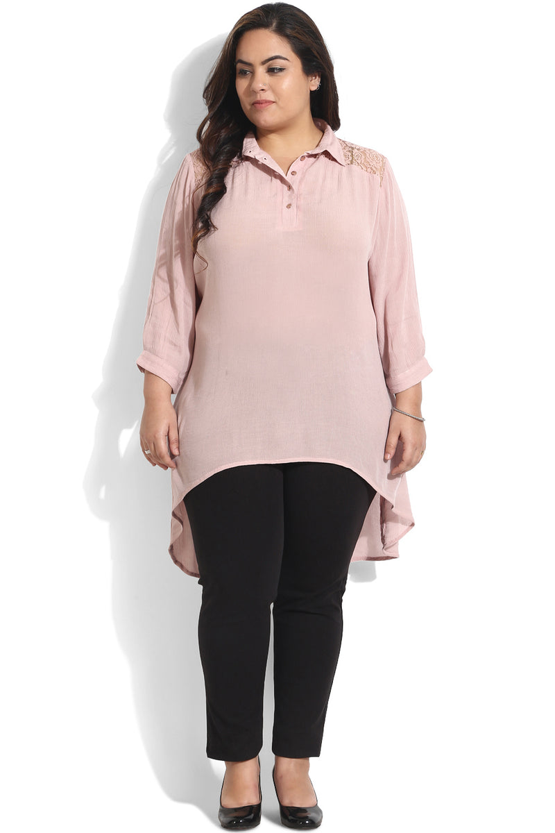 Rose Lace Yoke High Low Tunic