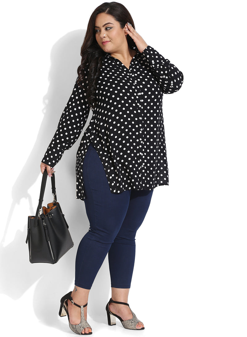 Black Polka Dot Button Down Shirt