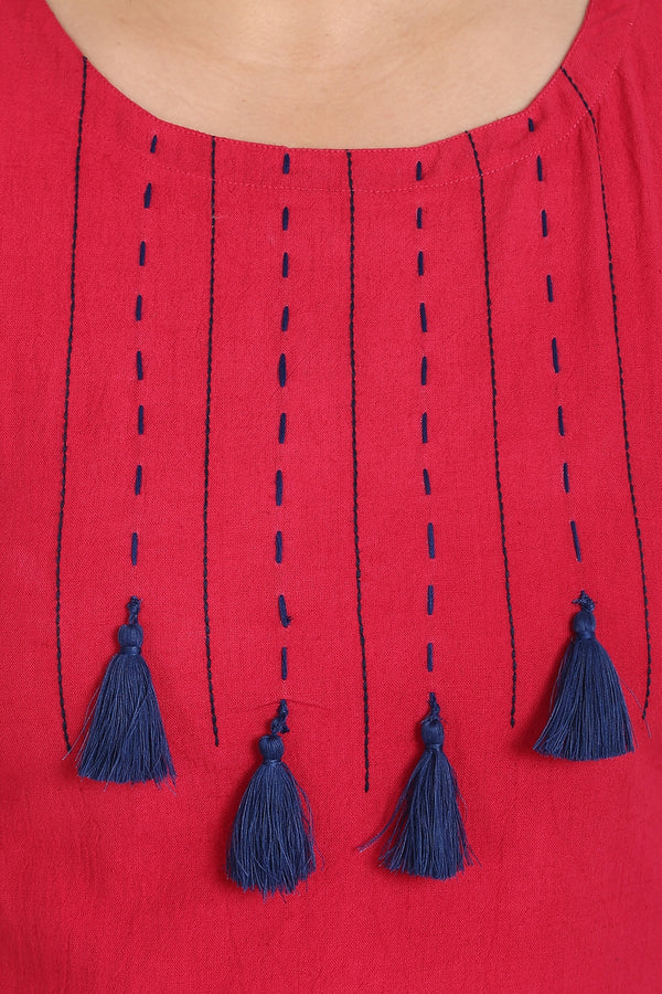 Ruby Pink Tassel & Thread Embroidery Kurti
