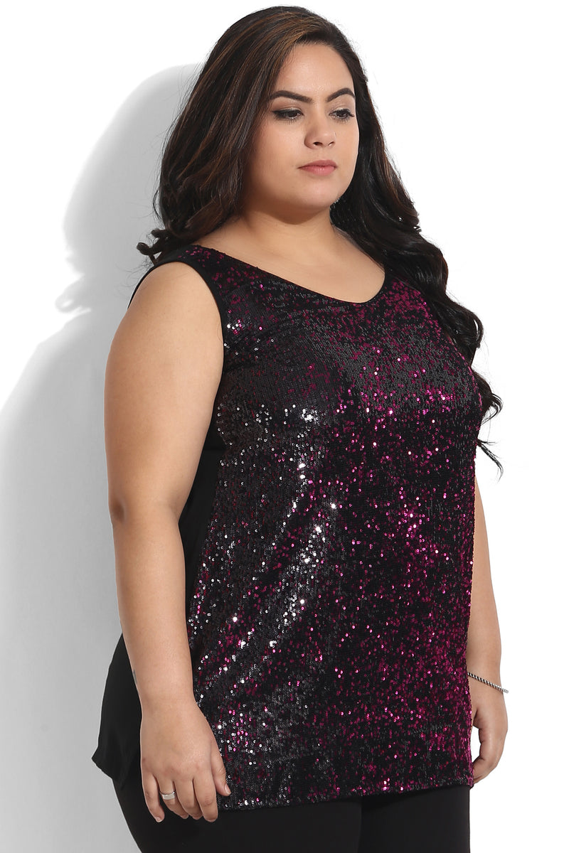 Black Pink Sequin Sleeveless Top