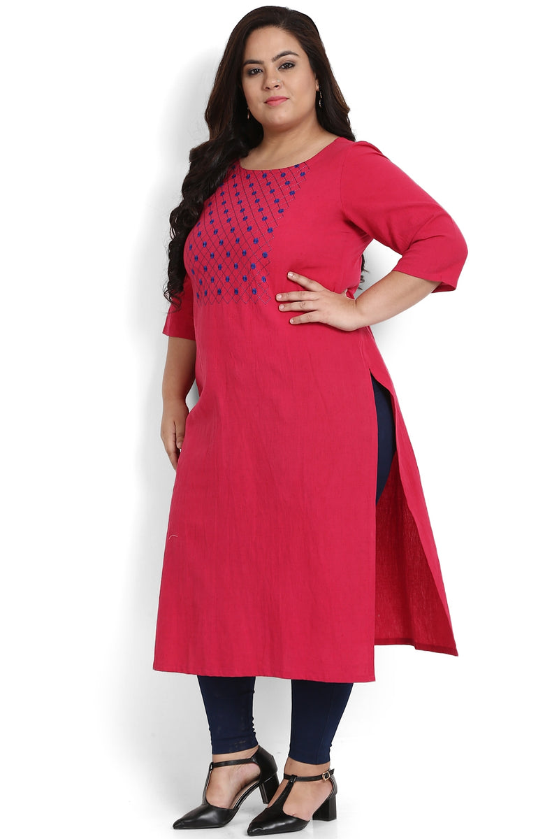 Ruby Pink Criss Cross Embroidery Kurti