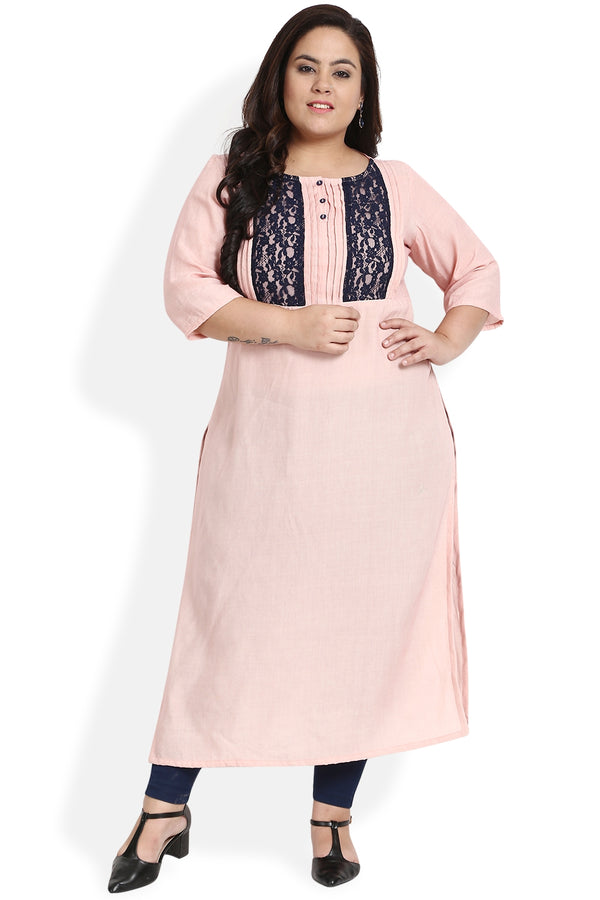 Rose Pink Navy Lace Panel Kurti