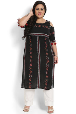 Black Boho Printed Off Shoulder Kurti
