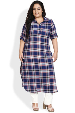 Navy Red Check Roll Up Sleeve Round Hemline Kurti