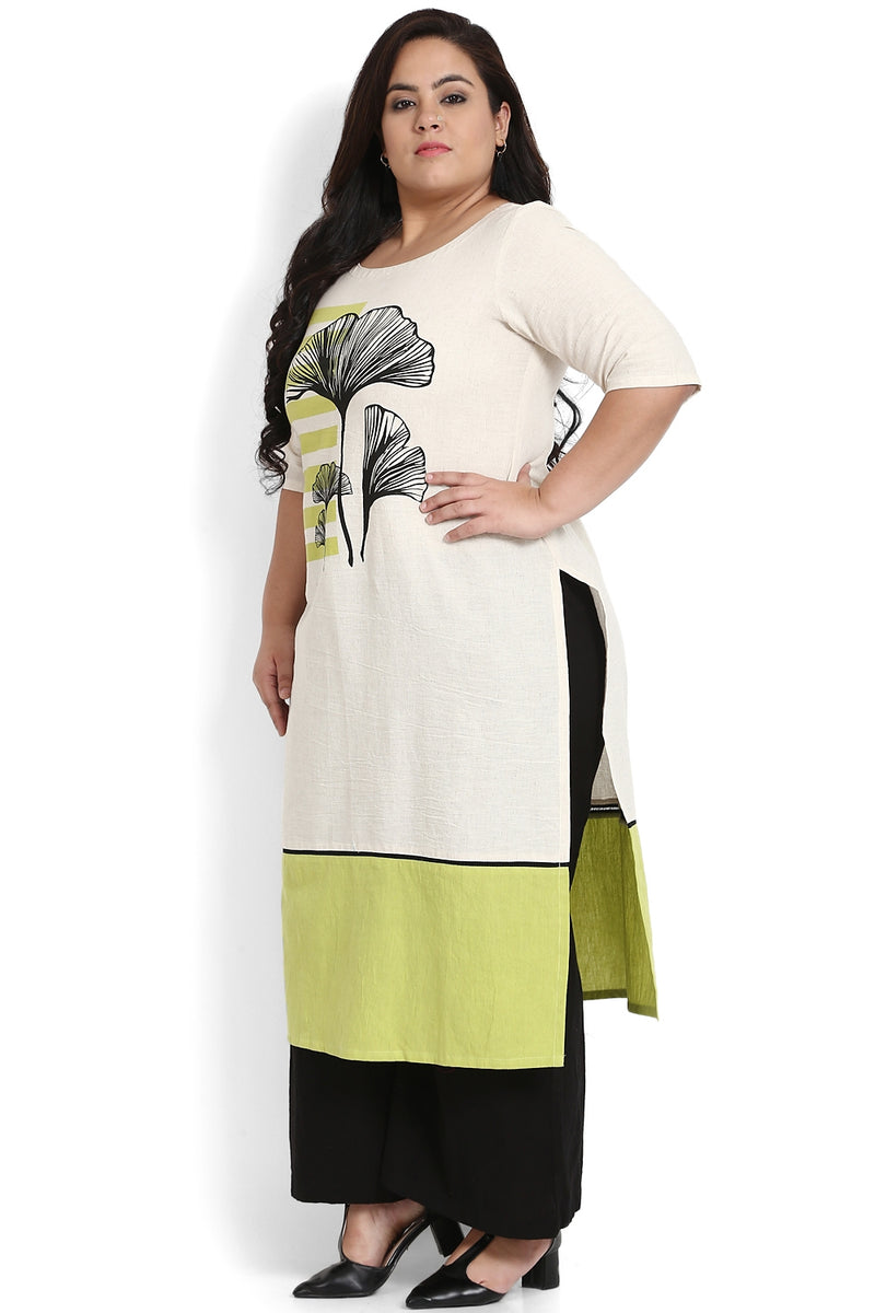 Green White Bottom Panel Printed Kurti