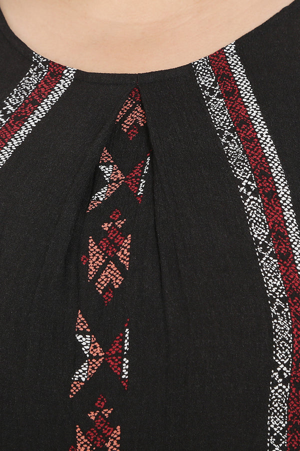 Black Red Vertical Boho Print Top