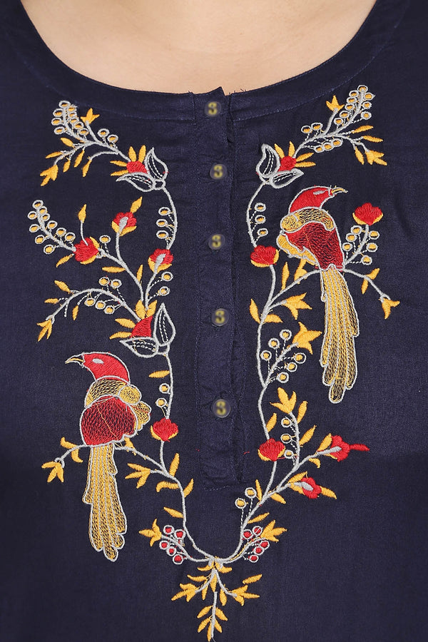 Navy parrot Embroidery Placket Closure Kurti
