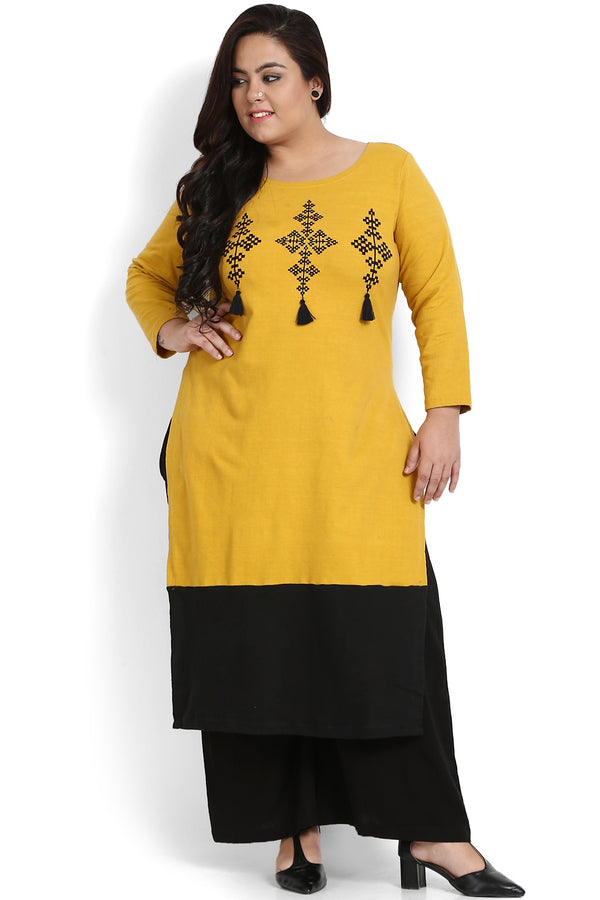 Mustard Panelled Embroidery Detail Autumn Kurti