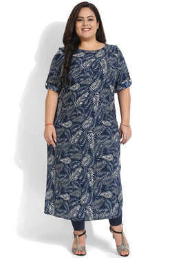 Blue Grey Leaf Printed Kurti