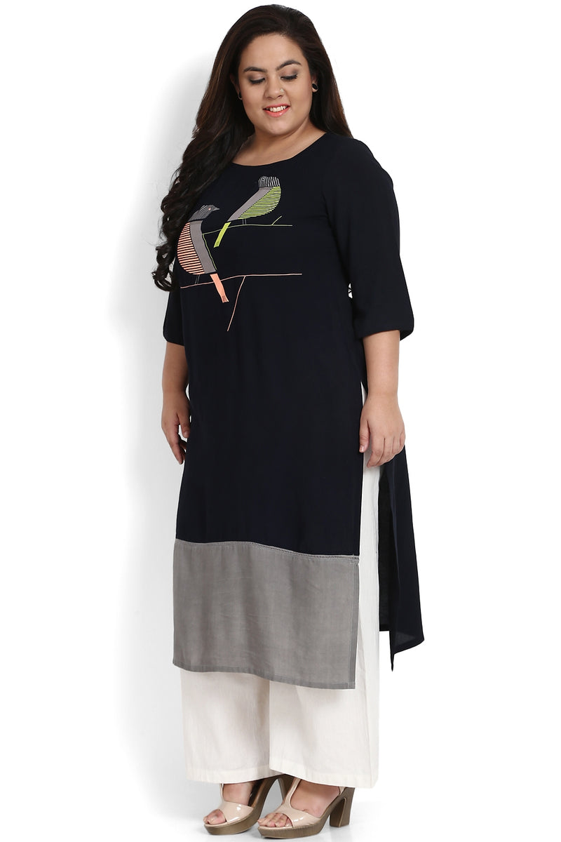 Navy Grey Bird Printed Bottom Panel Printed Kurti