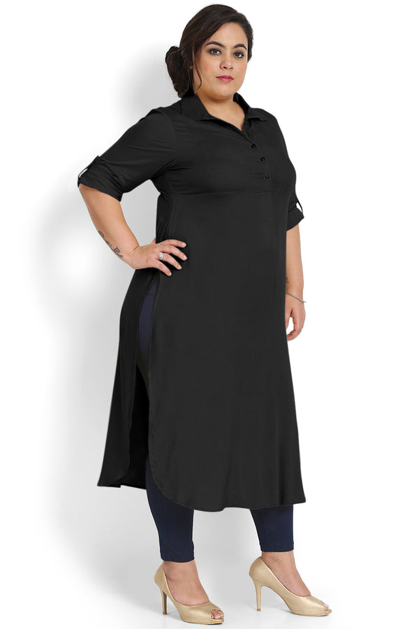 Black Liva Roll Up Sleeve Round Hemline Kurti