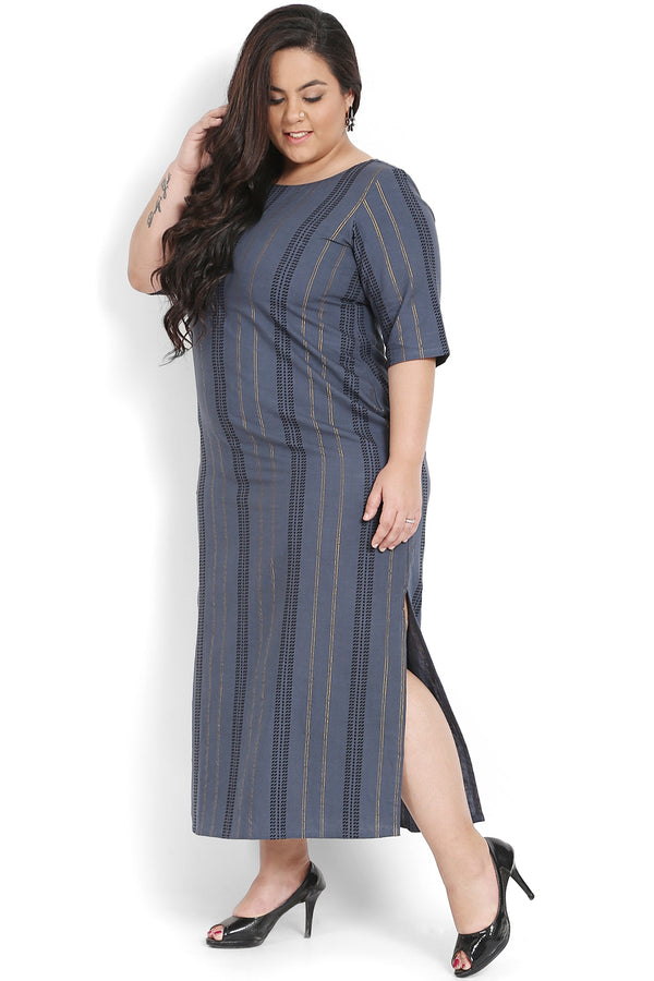Grey Golden Thread Full Length Dress